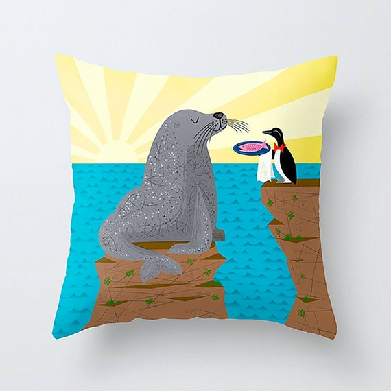 "Sealed With A Fish - Children's Decor - kids Room -  illustrated Cushion / Throw Pillow Cover (16"" x 16"") by Oliver Lake"