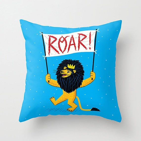 "ROAR! - Childrens Decor - Nursery room -  lion - illustrated Cushion Cover / Throw Pillow (16"" x 16"") by Oliver Lake"