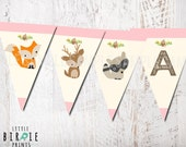 WOODLAND Baby Shower Decorations Bunting GIRL PINK Woodland Birthday party Banner Fox Deer Raccoon It's a girl nstant Download All letters