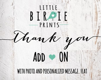 ADD ON THANK you card with photo - Matching Birthday Printable Thank you cards for any theme in my shop