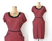 1940s Wiggle Dress / 40s Red & Black Rayon Cocktail Dress