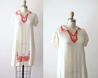 1920s Embroidered Silk dress / 20s Kirness Sisters Arts & Crafts Dress