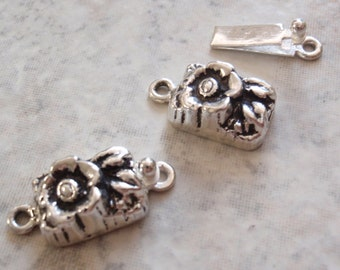 Sterling Silver Box Clasp Rectangular Shape Floral Flower Single Strand Qty. 1