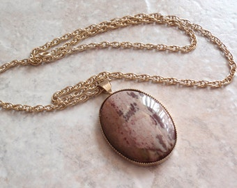 Brown Jasper Necklace Highly Polished Large Oval 22 Inch Chain Upcycled Vintage Setting