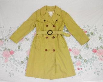 vintage 60's 70's classic short trench coat jacket 1960's 1970's khaki canvas tie belt collared trench coat knee length jacket petite 10 L