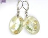 """Elegant Real Flower Resin Earrings """"Gipsophila"""", Oval transparent Natural Plant Earrings, Resin Flower earrings, Botanical jewelry, for her"""