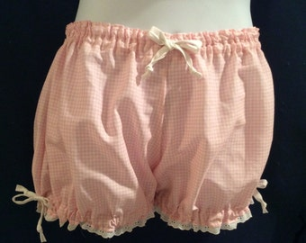 SALE-Womens Bloomers, Adult Bloomers, Pink and White Checked Cotton Gingham, SIze Small-Trimmed in Eyel