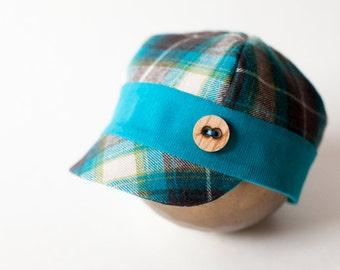 newborn BOY fabric HAT with button (Gunner) - photography prop - brown, teal, grean, cream, aqua