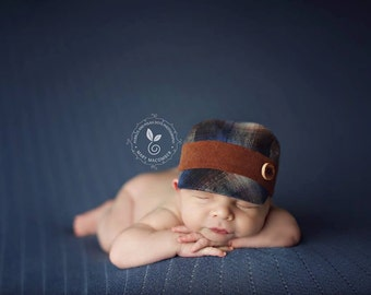 newborn BOY fabric HAT with button (Ethan) - photography prop - brown, navy, blue