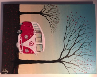 Original VW Bus painting-Just a breeze- 12 x 16, Acrylic on Canvas ready to hang, Original by Michael H. Prosper