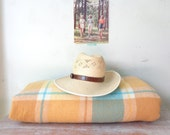Vintage Wool Check Blanket in Pastel Yellow, Caramel and Bright Blue
