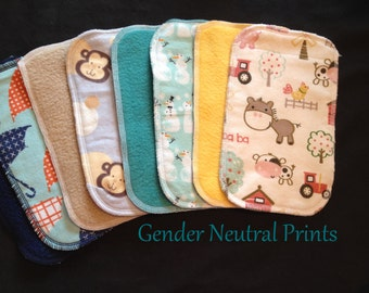 Cloth Baby Wipes, Family Cloth, Reusable Wipes, Assorted Gender Neutral Prints, Pack of 50 Cloth Wipes, Baby Shower Gift, Washable Wipes