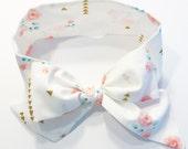 Fabric Bow Headwrap - Vintage Flowers and Gold Metallic- Infant Headband - Fabric Headband - Baby Headband - Toddler Headband Gold Metallic
