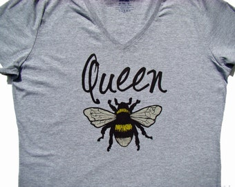 Queen Bee Ladies V neck shirt, tops and tees - Mother's day gift, Super cute Bee theme gift, custom printed