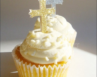 Baptism Or Communion, Glitter Cross, Cupcake Toppers, Silver And Gold, Party Decorations, Appetizer Picks, Dessert Buffet Sticks, Set Of 10