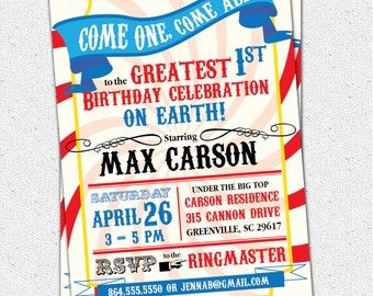 Circus Carnival Birthday Party Invitation, Big Top, Come One Come All, Greatest Show on Earth, Boy or Girl, DIY Digital File