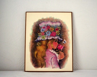 vintage anthony gruerio litho, girl with flower hat wall plaque, 1960s flower girl picture, 60s wall decor, lithograph