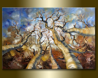 Seasons Original Tree Forest Textured Palette Knife Landscape Painting Oil on Canvas Modern Art 24X36