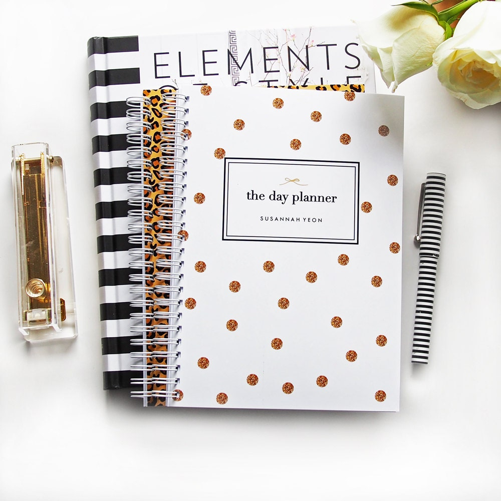 Planner personalized day planner gold glitter spot custom for Custom photo planner