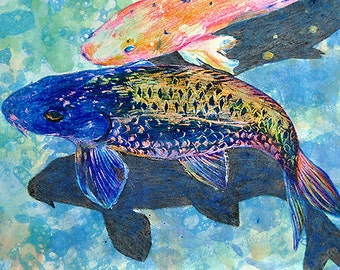 Koi, A4 Fine Art Watercolor & Crayon Colorful Koi Fish Painting Print