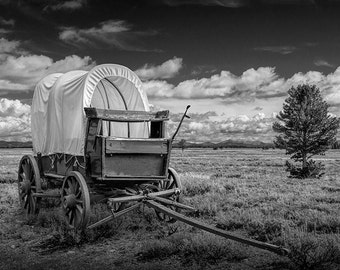Frontier Prairie Schooner Covered Wagon in the Grand Tetons in Wyoming either in Black & White or Sepia No.67752 Western Fine Art Photograph