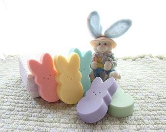 Set of Bunny Soaps.  Rainbow of Colors.  Cute Easter soaps. Peeps.