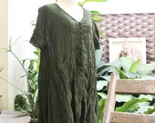 L-XL Comfy Roomy A-Shape Short Sleeves Blouse/ Short Tunic -  Olive Green
