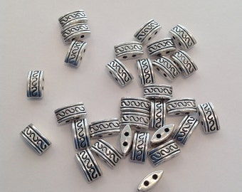 30 x 2 hole silver  metal spacer beads