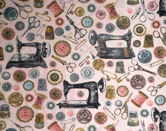 Vintage Sewing Tools Print Pure Cotton Fabric--One Yard