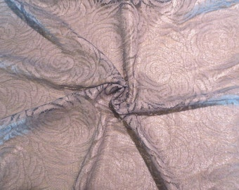 Silvery Gray Blue Floral Pattern Lace Fabric--One Yard
