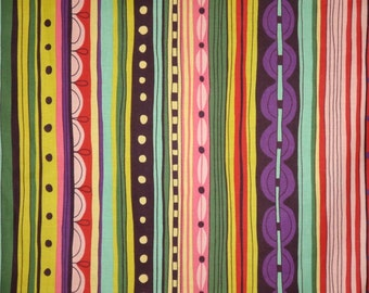 REMNANT--Colorful Nyanza Stripe Print Pure Cotton Fabric--1.25 Yard