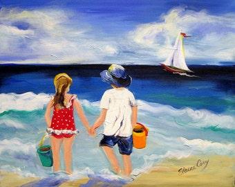 On The Beach Original Painting 16 x 20 Art by Elaine Cory