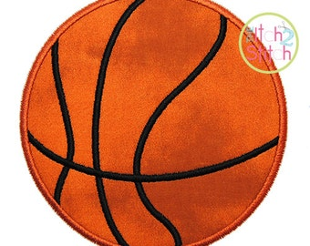 """Basketball Applique Design, Shown with our """"Urban Way"""" Font NOT Included, Hoop Size(s) 4x4, 5.5"""", 5x7 & 6x10 Instant Download"""