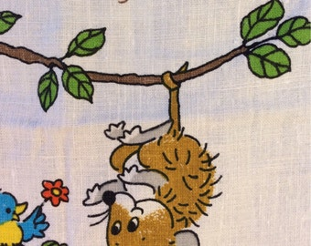 Hang In There Vintage Tea Towel Calendar from 1979 by Hallmark - retro cartoon kitchen towel