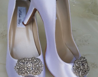 Wedding Shoes Bridal Shoes Vintage Brooch -  Dyeable Shoes Over 100 Colors To Pick From