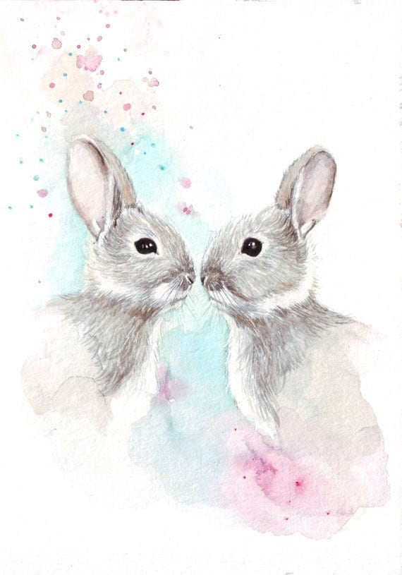 Original watercolor painting of Two Bunnies art HM021