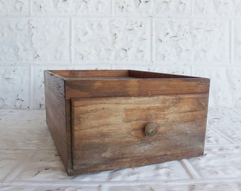 Vintage Primitive One Drawer Oak File Box
