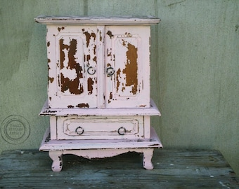 S H A B B Y Vintage Pink Jewelry Box Armoire Chippy Paint