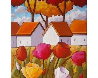 "Floral Art Print by Cathy Horvath 8.5""x11"" Modern Tulip Flower Cottage, Folk Art Spring Bloom Landscape Archival Artwork Giclee Reproduction"