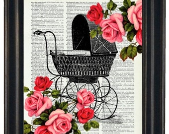 BOGO 1/2 OFF Dictionary Art Prints Sheet Music Baby Carriage with Flowers  A HHP Original Concept and Design Steampunk Art Prints Wall Art