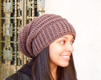 Crochet Slouchy Hat, Tam, Taupe, Ribbed, Beehive Hat, Women, Men, Teen, Tam,  Adult,
