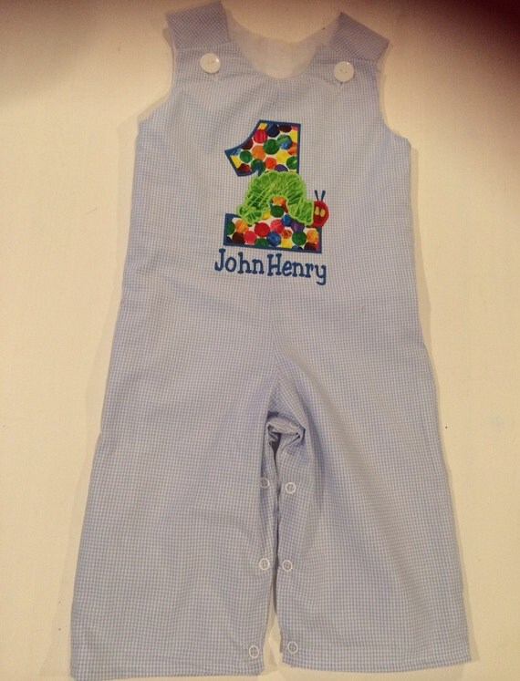 Boys Very Hungry Caterpillar birthday longall blue gingham