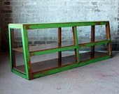 Reclaimed Media Console TV Stand Storage Cabinet Vintage Acid Washed Distressed Apple Green Wood Industrial Farm Chic