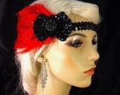 Gatsby Headband, Flapper Headband, Downton Abbey, 1920s Head Piece, Art Deco Headband, Black and Red