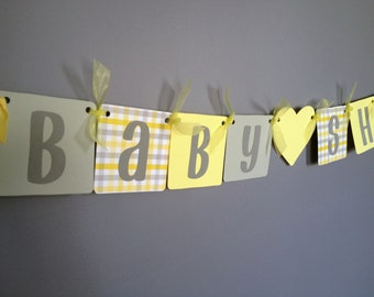 Yellow and Grey Baby Shower Banner -Neutral Shower Banner - Bright Yellow Grey and White Gingham Yellow Hearts
