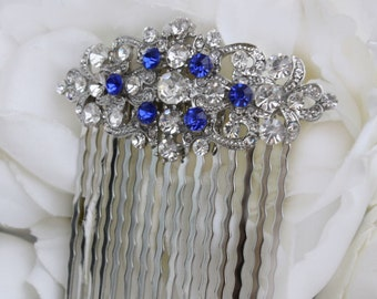 sapphire blue swarovski crystal bridal hair comb royal blue rhinestone silver hair comb blue wedding hair comb bridal hair accessories blue
