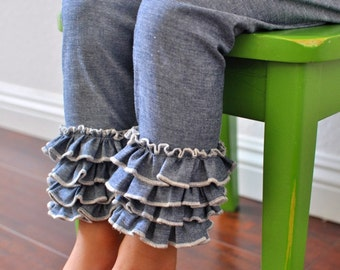 Indigo Chambray Leggings with Full Ruffles / Girls Leggings