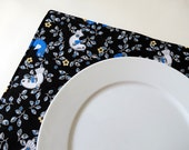 Pair of Reversible Placemats: Twitter Blue Birdies and Modern Yellow and Black