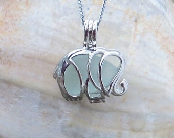 Pale Aqua Sea Glass Elephant Necklace Locket by Wave of Life™