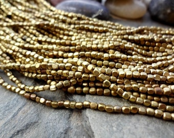 2mm Rounded Cube Bead, African Brass Trade Beads, Shiny Brass, 25 Inches, Priced per Strand